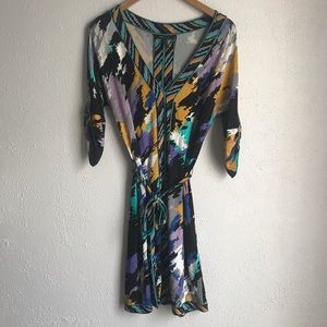 BCBG MaxAzria Dress Small Multicolor Tie Around